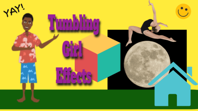 Girls tumbling, performing flips, back fips and fronts with percision